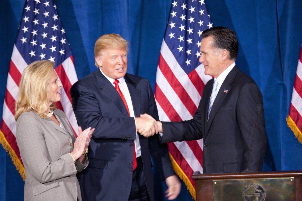 Mitt Romney Shakes Hands With Donald Trump
