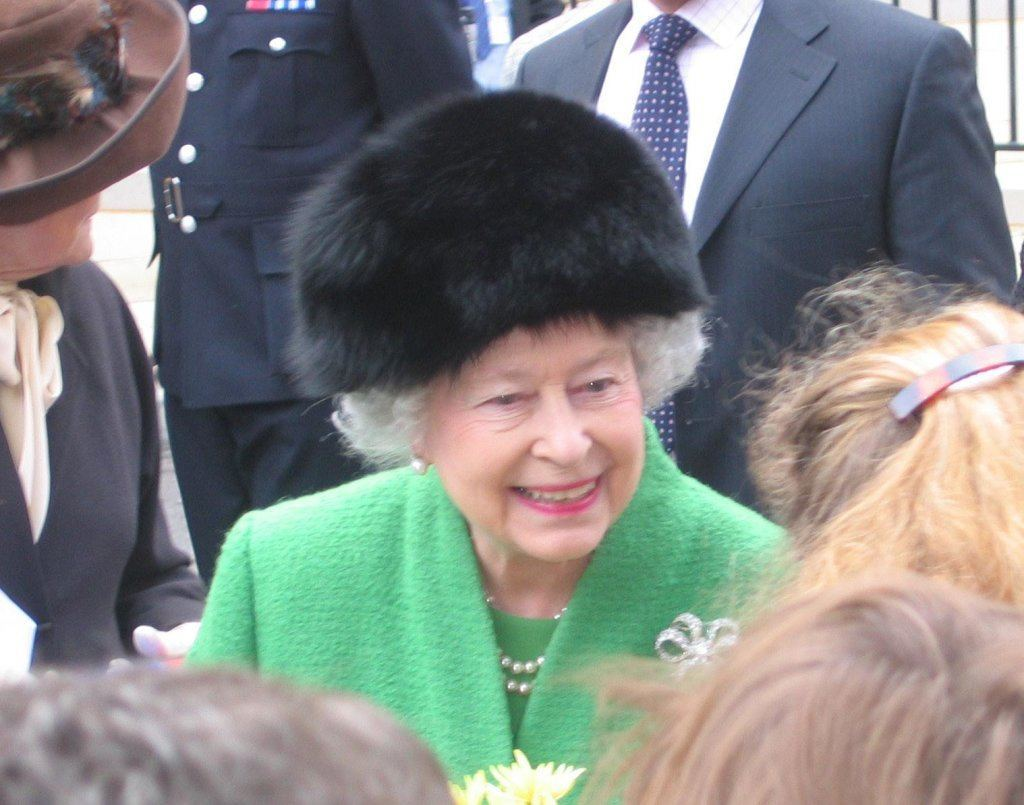 Queen Elizabeth in furry hat