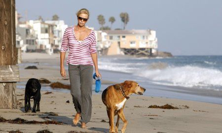 Charlize Theron walks her dogs