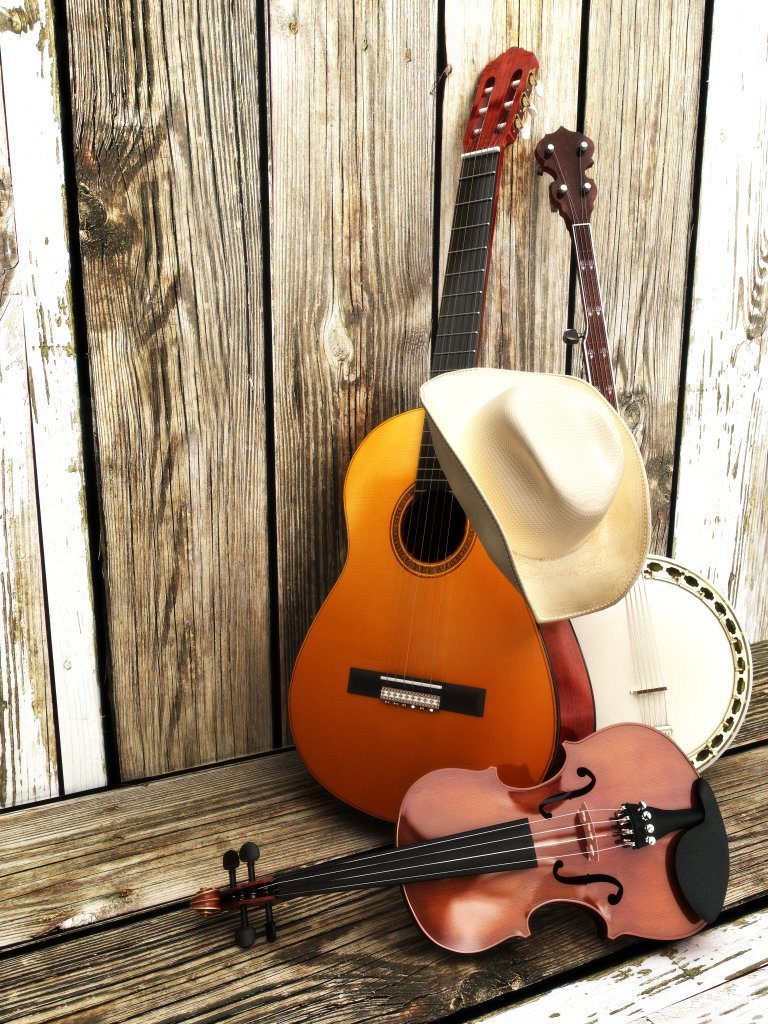 Country Music Background With Stringed Instruments