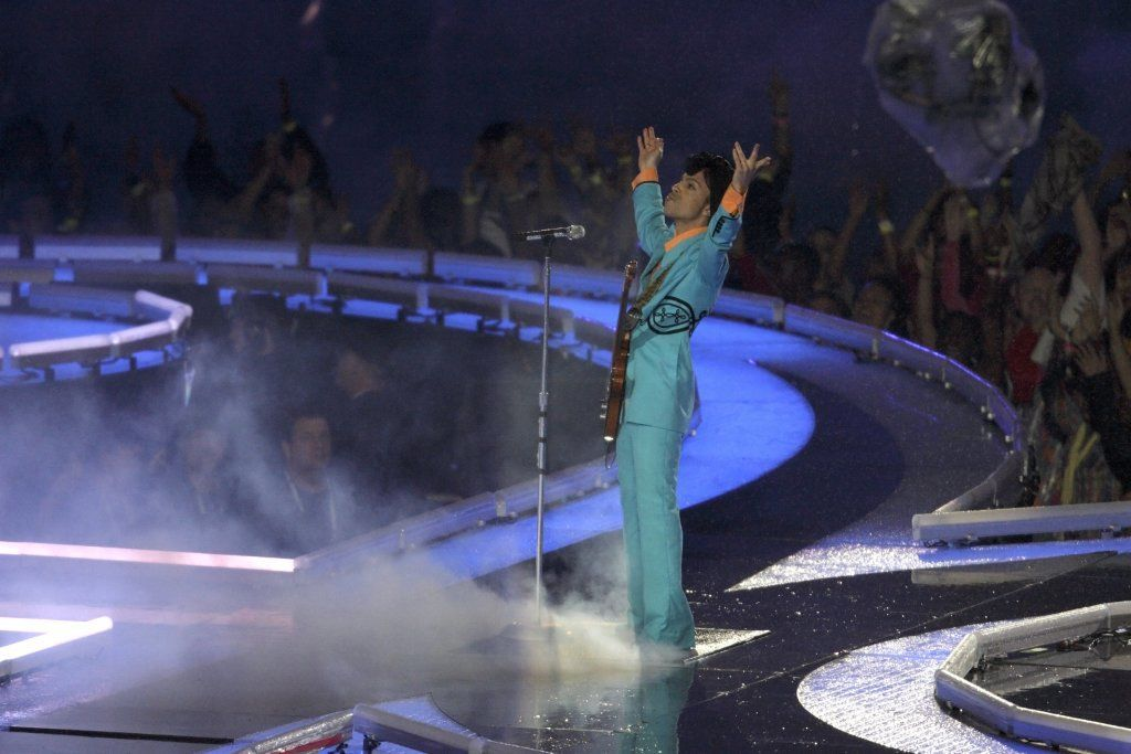 Prince Performs During Half-Time For Super Bowl