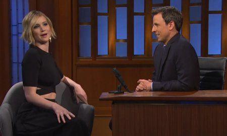 Jennifer Lawrence and Seth Myers