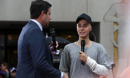 Justin Bieber and Carson Daly