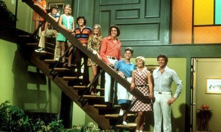 Brady Bunch on the stairs