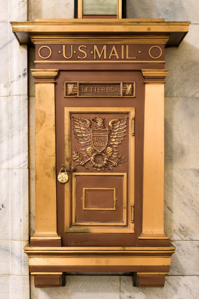 Eagle at Bronze U.S. Mail Letter Box