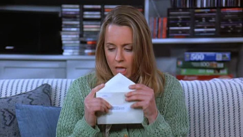 Susan licking envelopes on Seinfeld