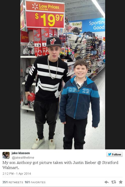 Justin Bieber at Walmart