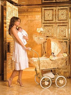 baby Barron in gilded carriage