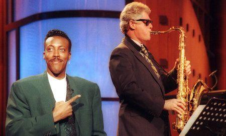Clinton playing sax