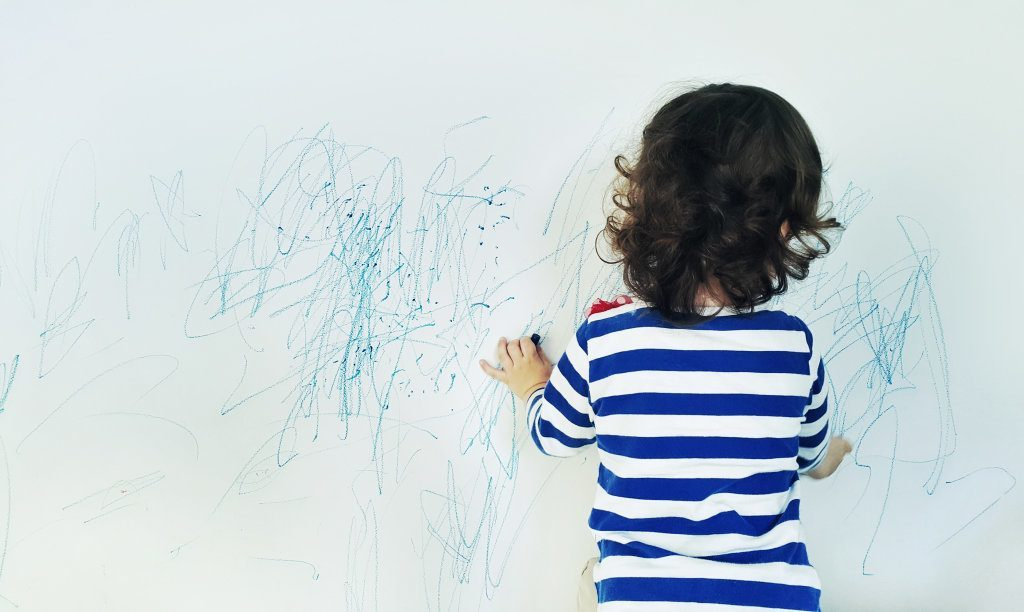 Drawing With Crayon Color On The Wall