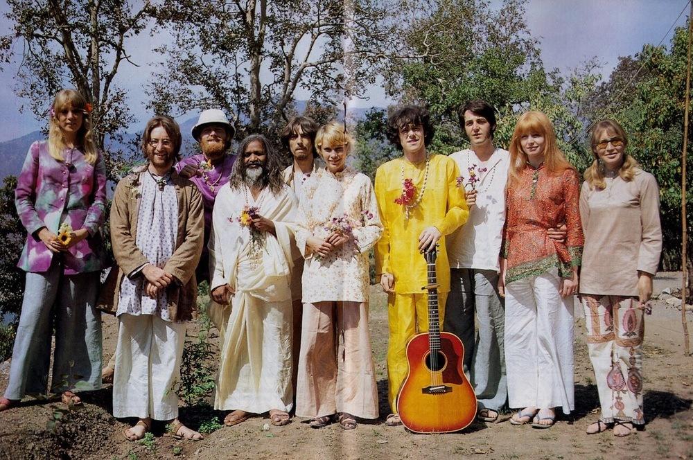 Beatles and Mia Farrow in India