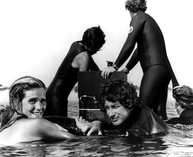 Speilberg on Jaws set